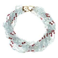 Aquamarine and Tourmaline Gold Beads Necklace