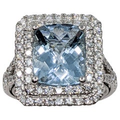 Aquamarine and White Diamond Fancy Ring 'Cushion Cut'