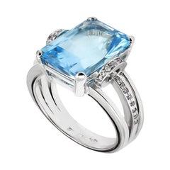 10ct Aquamarine & White Diamond Ring Set in 18 Karat Gold Made in Italy Bespoke