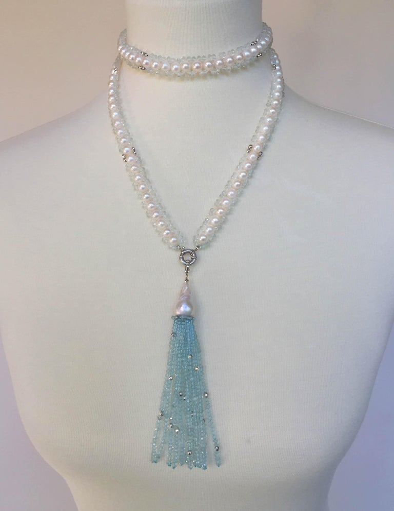 Marina J Aquamarine and White Pearl Woven Sautoir Necklace with 14K Gold Clasp  For Sale 3