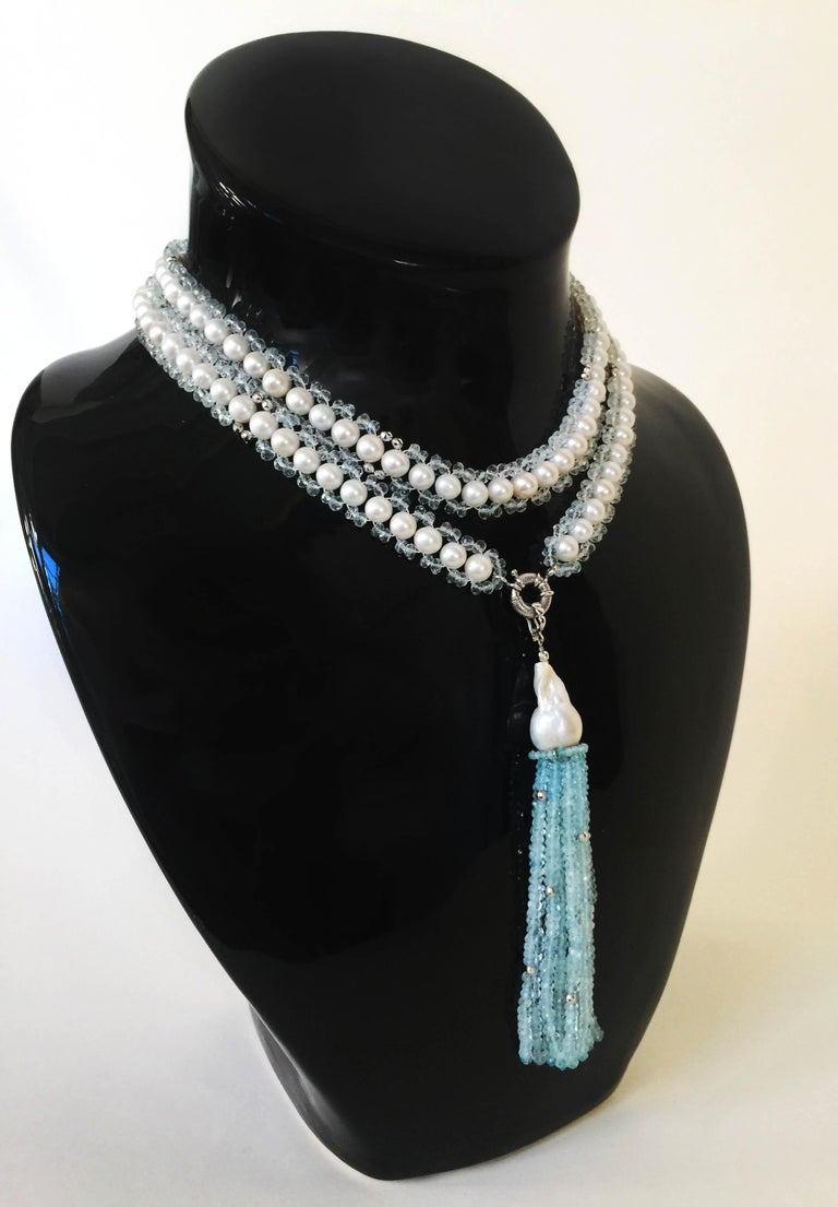 Marina J Aquamarine and White Pearl Woven Sautoir Necklace with 14K Gold Clasp  For Sale 4