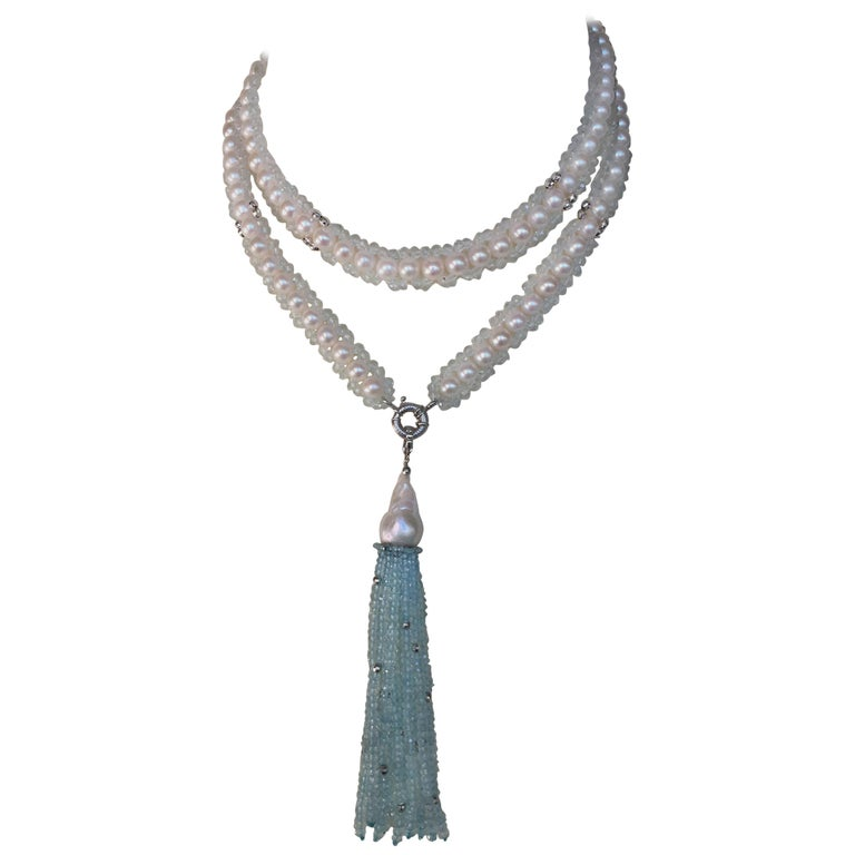 Marina J Aquamarine and White Pearl Woven Sautoir Necklace with 14K Gold Clasp  For Sale