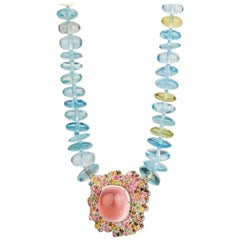 Aquamarine and Yellow Beryl Necklace with a Rose Quartz and Tourmaline Clasp