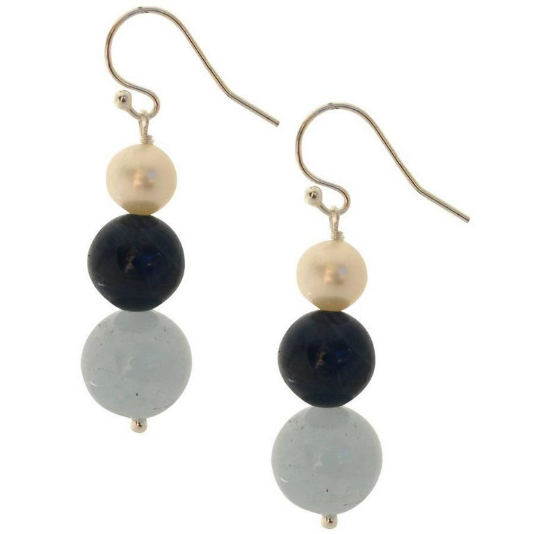 Aquamarine Apatite Pearl Silver Earrings