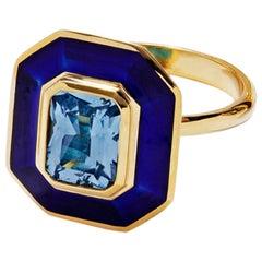Aquamarine Art Deco Inspired Ring in 18 Carat Gold Cobalt Blue Vitreous Enamel