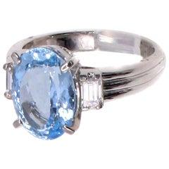 Aquamarine Baguette Cut Diamond Platinum Cocktail Ring