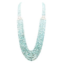 Aquamarine Bead Diamond and White Gold Long Necklace