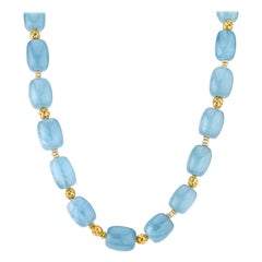 Aquamarine Beaded Necklace with 22 Karat Yellow Gold Accents