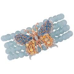 Aquamarine Beads, Diamonds, Colored Sapphires 14k White and Rose Gold Bracelet