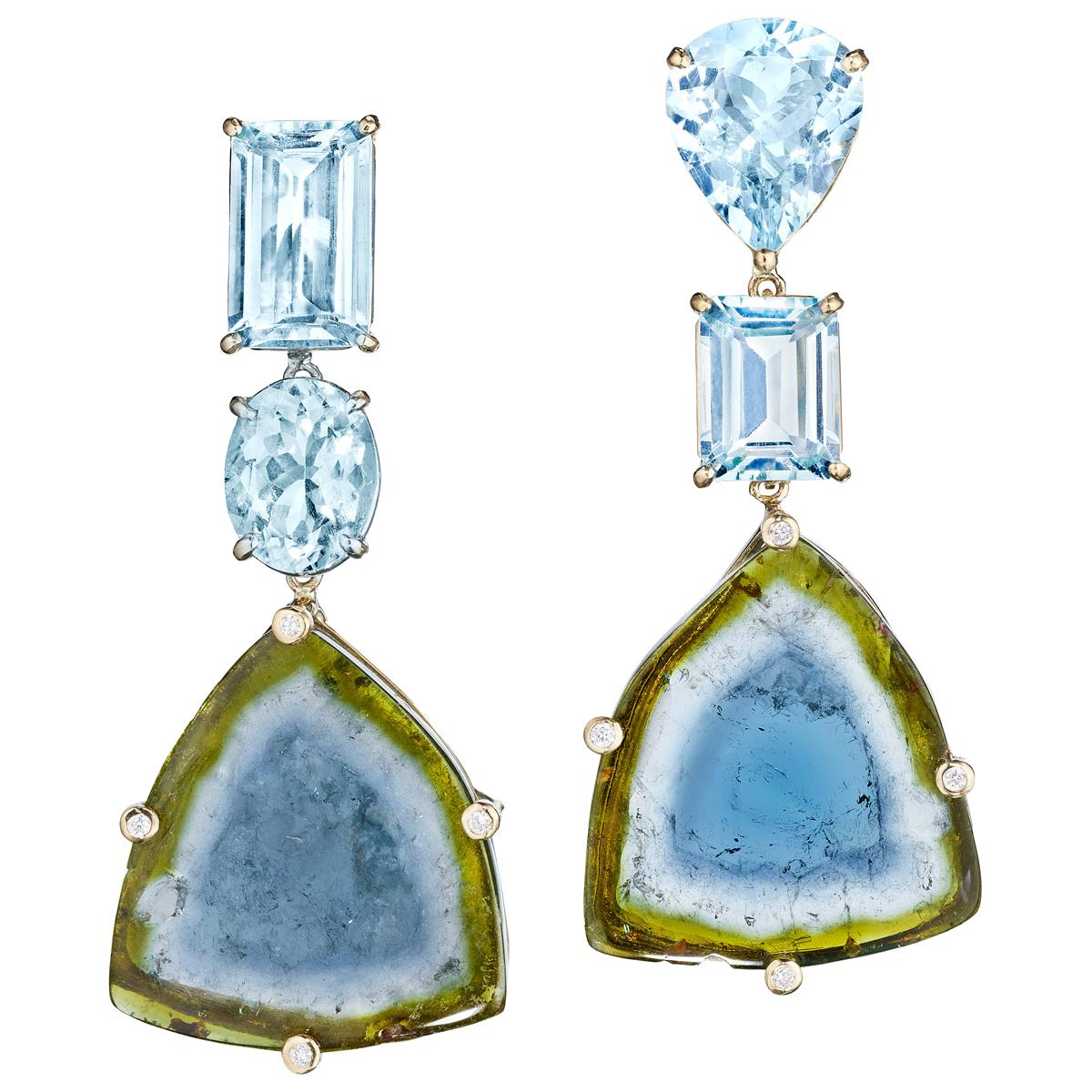 18 Karat Yellow Gold Aquamarine Bicolor Tourmaline Diamond Drop Dangle Earrings