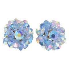 Aquamarine Blue Aurora Borealis Crystal Cluster Clip on Earrings in Silver