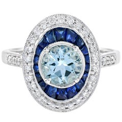 Aquamarine Blue Sapphire Diamond Cocktail Ring