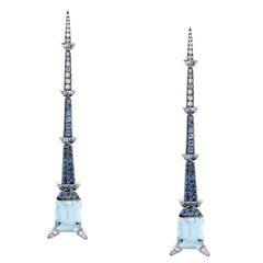 Aquamarine Blue Sapphire Diamond Drop Earrings