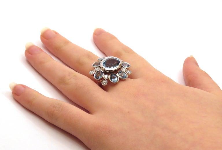 Modern Aquamarine Sapphires Diamonds 18 Karat White Gold Cocktail Floral Ring  For Sale