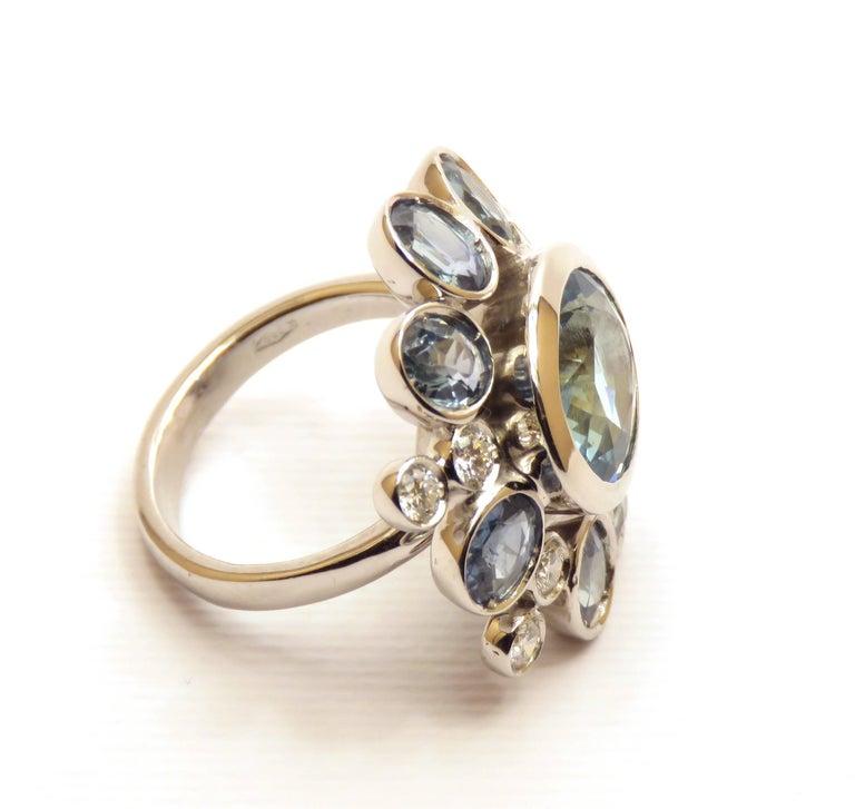 Women's Aquamarine Sapphires Diamonds 18 Karat White Gold Cocktail Floral Ring  For Sale