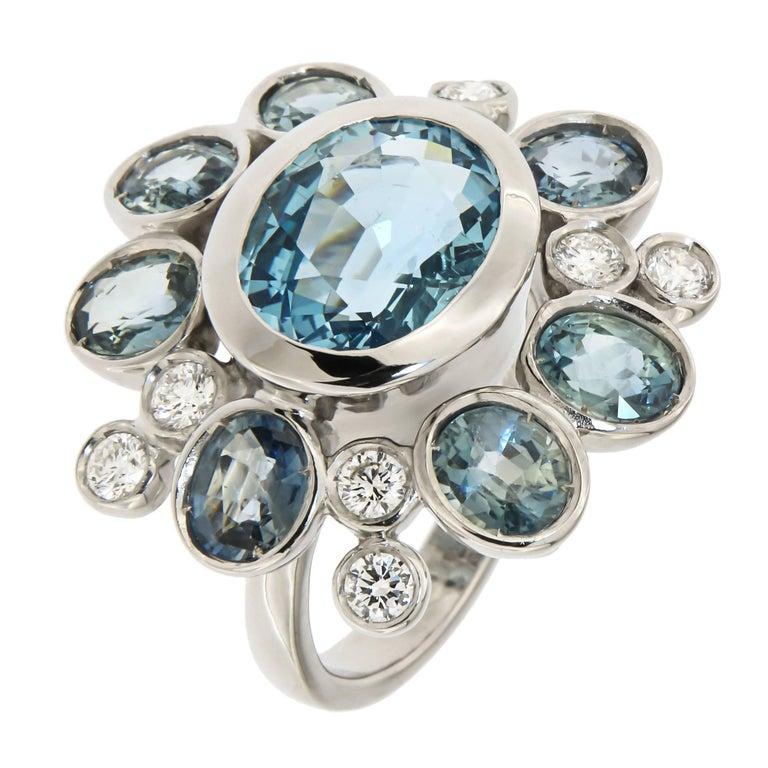 Aquamarine Sapphires Diamonds 18 Karat White Gold Cocktail Floral Ring  For Sale