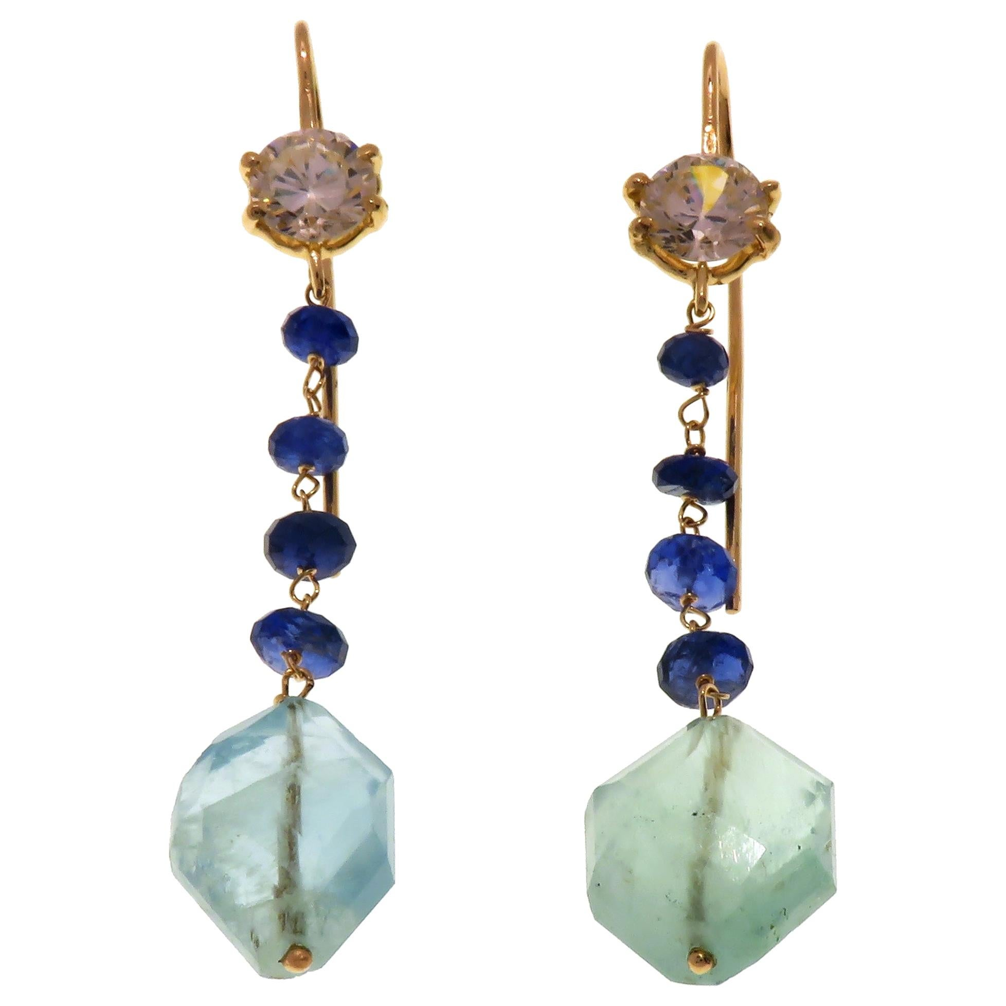 Aquamarine Blue Sapphires Quartz 9 Karat Rose Gold Dangle Earrings
