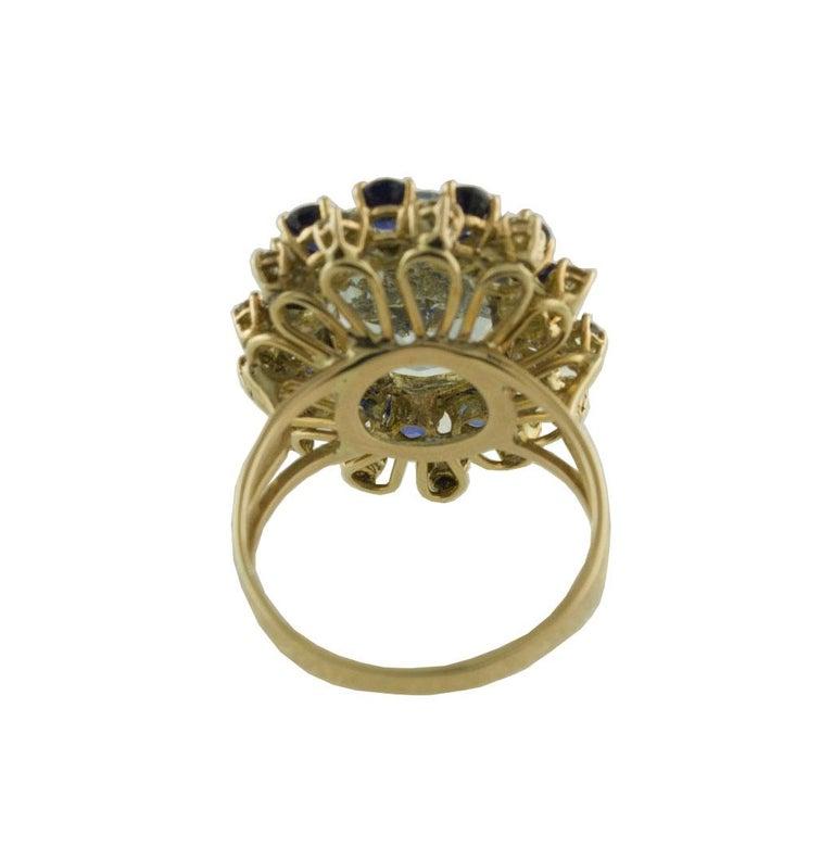 Women's Aquamarine Blue Sapphires White Diamonds Rose Gold Ring For Sale
