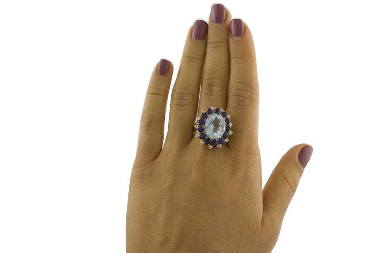 Aquamarine Blue Sapphires White Diamonds Rose Gold Ring For Sale 1