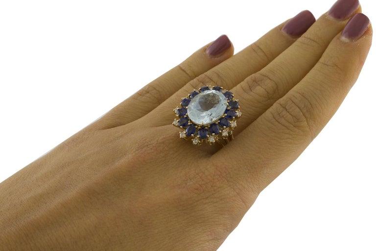 Aquamarine Blue Sapphires White Diamonds Rose Gold Ring For Sale 2
