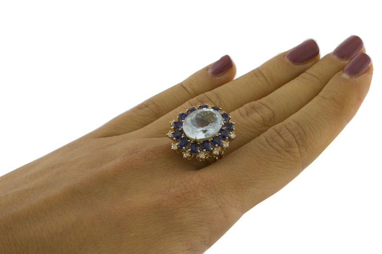 Aquamarine Blue Sapphires White Diamonds Rose Gold Ring For Sale 3