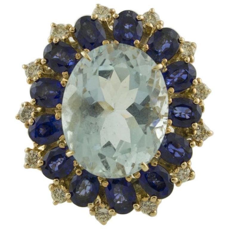 Aquamarine Blue Sapphires White Diamonds Rose Gold Ring For Sale