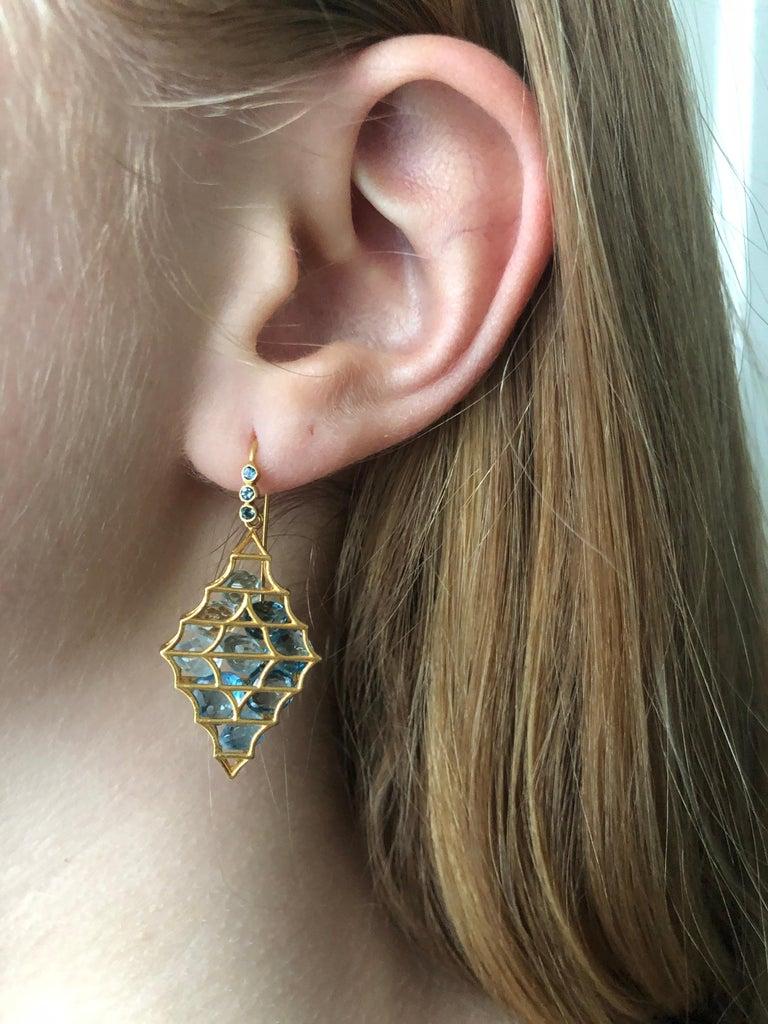 Contemporary Aquamarine Blue Topaz Gold Earrings by Lauren Harper For Sale