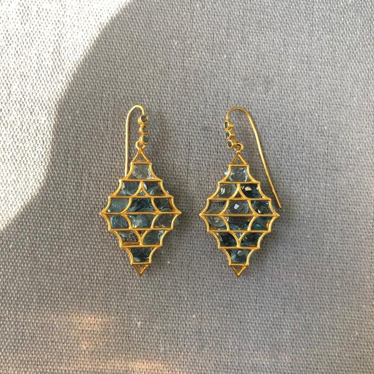 Aquamarine Blue Topaz Gold Earrings by Lauren Harper For Sale 1