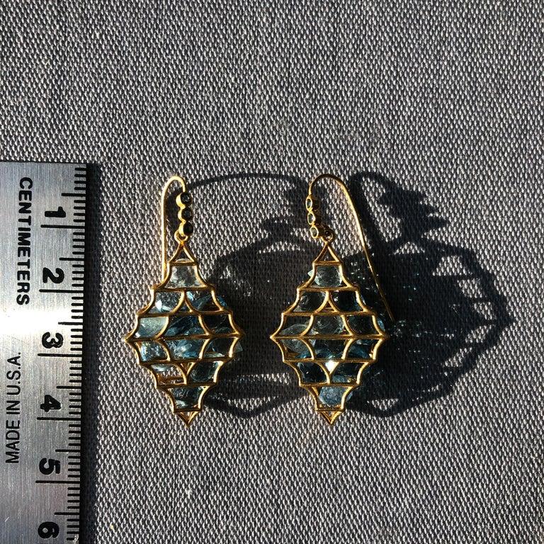 Aquamarine Blue Topaz Gold Earrings by Lauren Harper For Sale 2