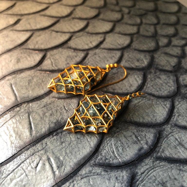 Aquamarine Blue Topaz Gold Earrings by Lauren Harper For Sale 3