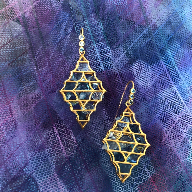 Aquamarine Blue Topaz Gold Earrings by Lauren Harper For Sale 4