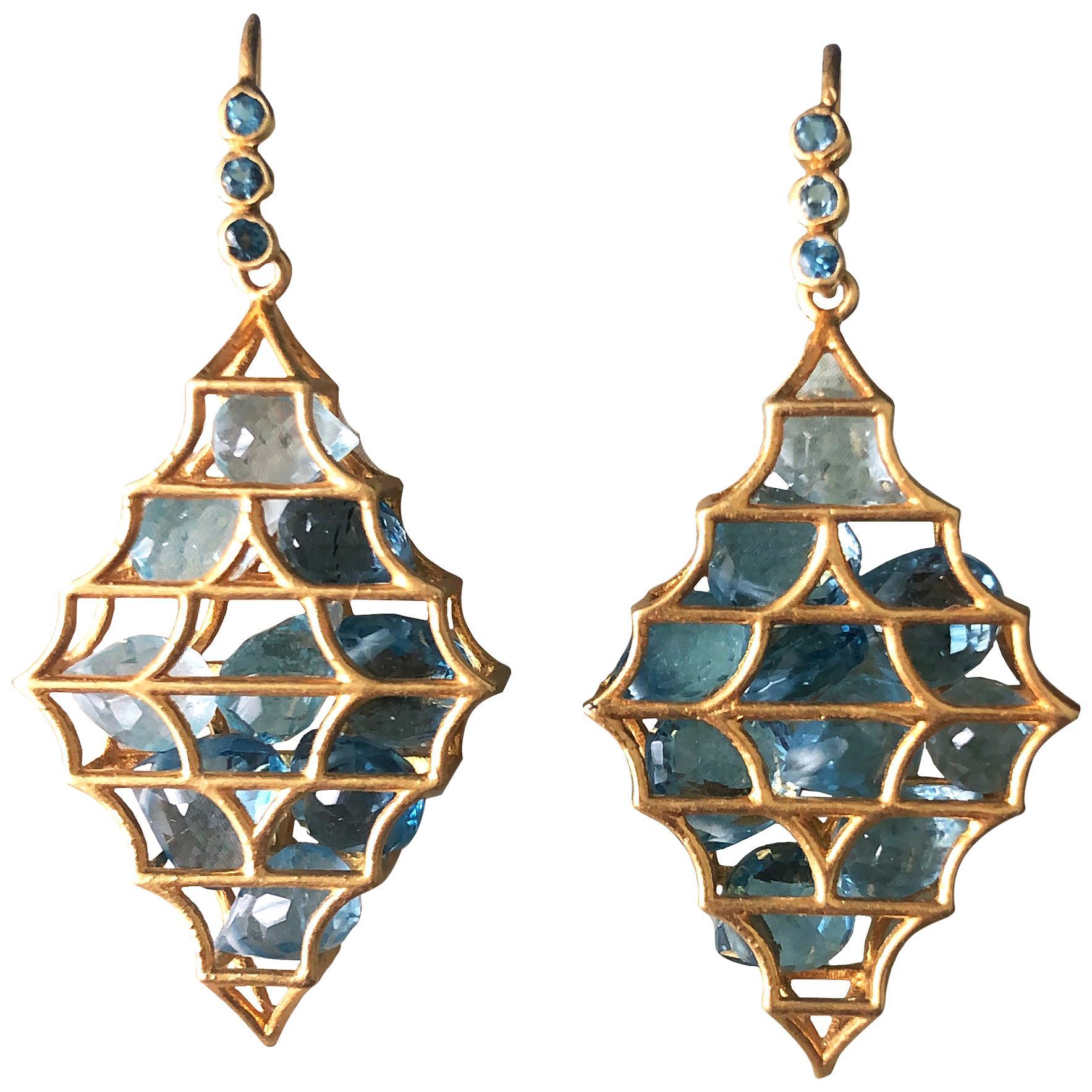 Aquamarine Blue Topaz Gold Earrings by Lauren Harper