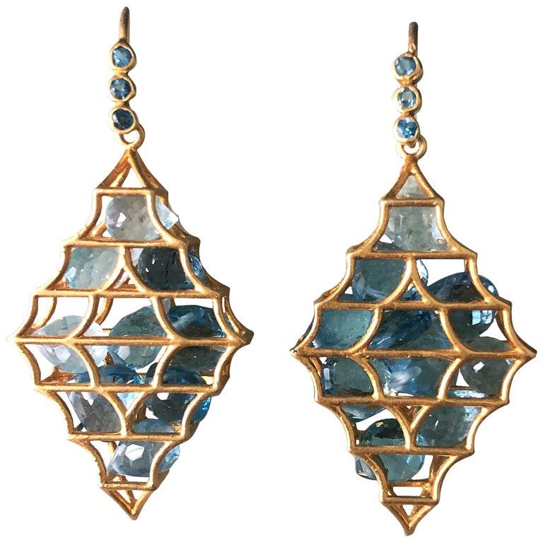 Aquamarine Blue Topaz Gold Earrings by Lauren Harper For Sale