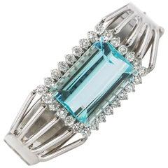 Aquamarine Bracelet 20 Carat with Diamonds 2.50 Carat F/VS 14 Karat Gold