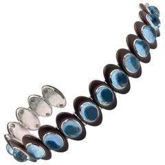 Aquamarine Bracelet in 18 Karat Whitegold and Ceramic-Coated Stainless Steel