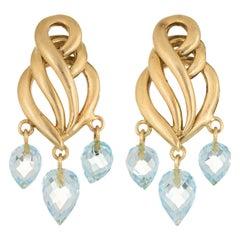 Aquamarine Briolette Drop Earrings Estate 18k Brushed Yellow Gold Fine Jewelry