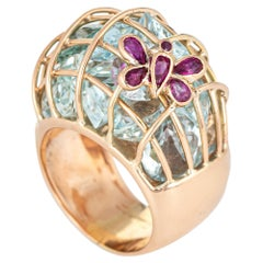 Aquamarine Butterfly Ring 14 Karat Yellow Gold Ruby Cage Domed Band Jewelry