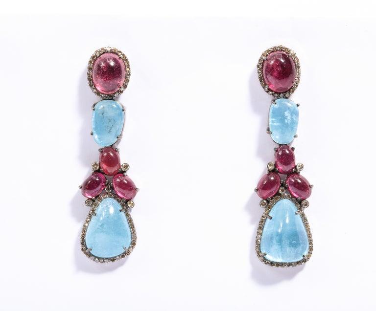 Aquamarine Cabochon Pink Tourmaline Diamond Necklace And