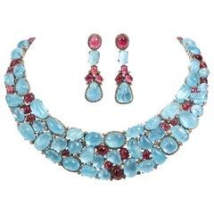 Aquamarine Cabochon Pink Tourmaline Diamond Necklace and Earrings Set