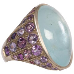 Aquamarine Cabochon Ring Created by Marion Jeantet