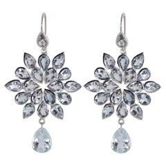 Ico & the Bird Fine Jewelry Aquamarine Chandelier 18 Karat Gold Earrings
