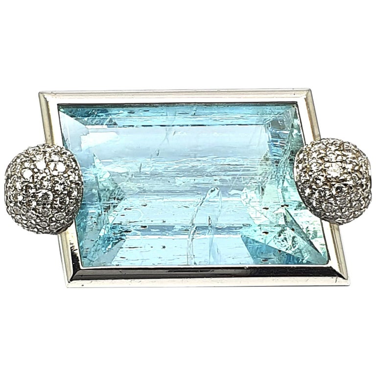 Aquamarine Clasp, 42.80 Carat in an 18K White Gold Frame & Pave Set Diamond Caps For Sale