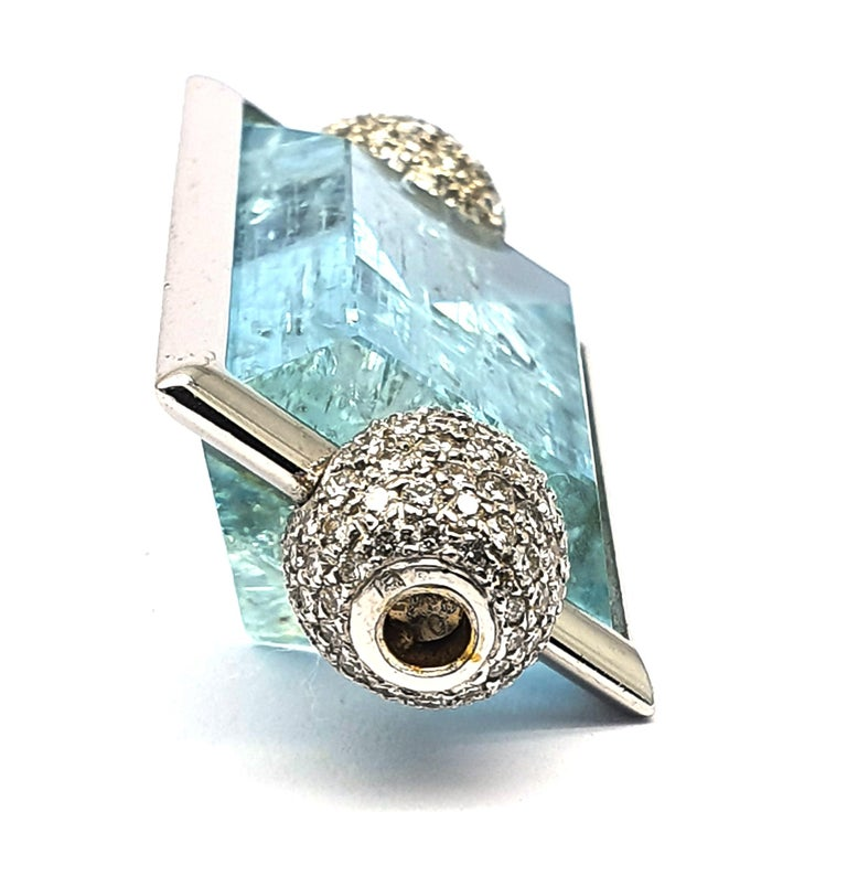 Classical Roman Aquamarine Clasp, 42.80 Carat in an 18K White Gold Frame & Pave Set Diamond Caps For Sale
