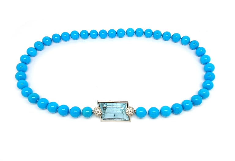 Aquamarine Clasp, 42.80 Carat in an 18K White Gold Frame & Pave Set Diamond Caps For Sale 1