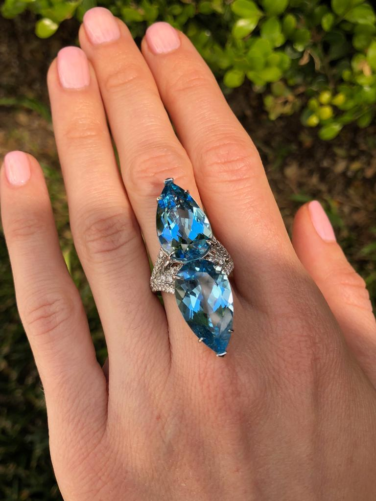 Aquamarine Diamond Cocktail Platinum Blue Ring Pear Shapes 18.59 Carat In New Condition For Sale In Beverly Hills, CA