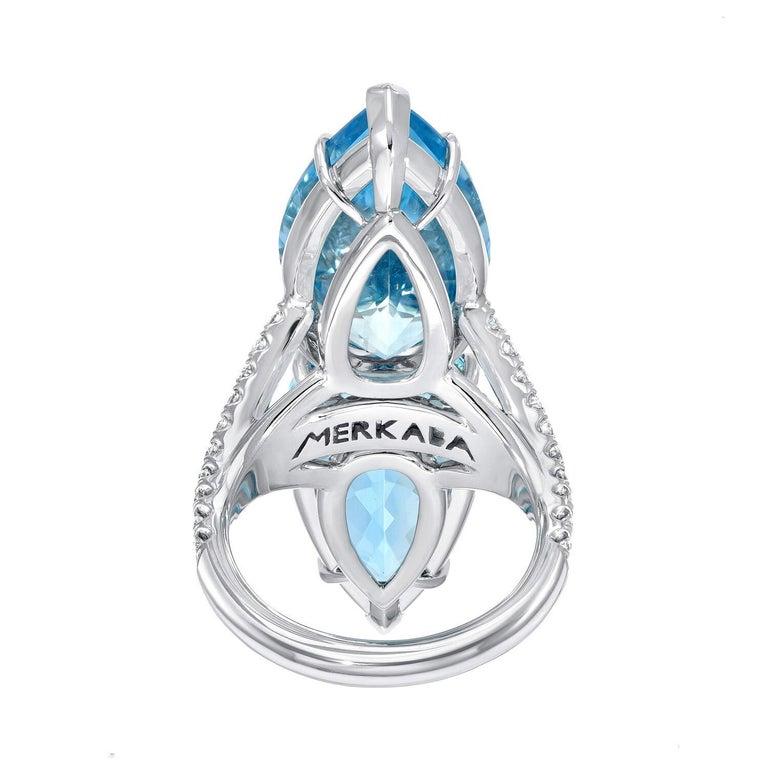 Pear Cut Aquamarine Diamond Cocktail Platinum Blue Ring Pear Shapes 18.59 Carat For Sale