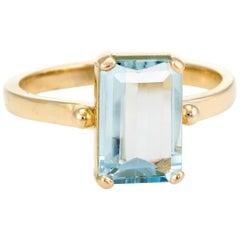 Aquamarine Cocktail Ring Vintage 14 Karat Yellow Gold Estate Fine Jewelry