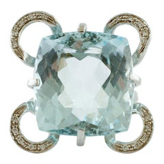 Aquamarine Color Central Topaz, Diamonds, 18 Karat White Gold Ring