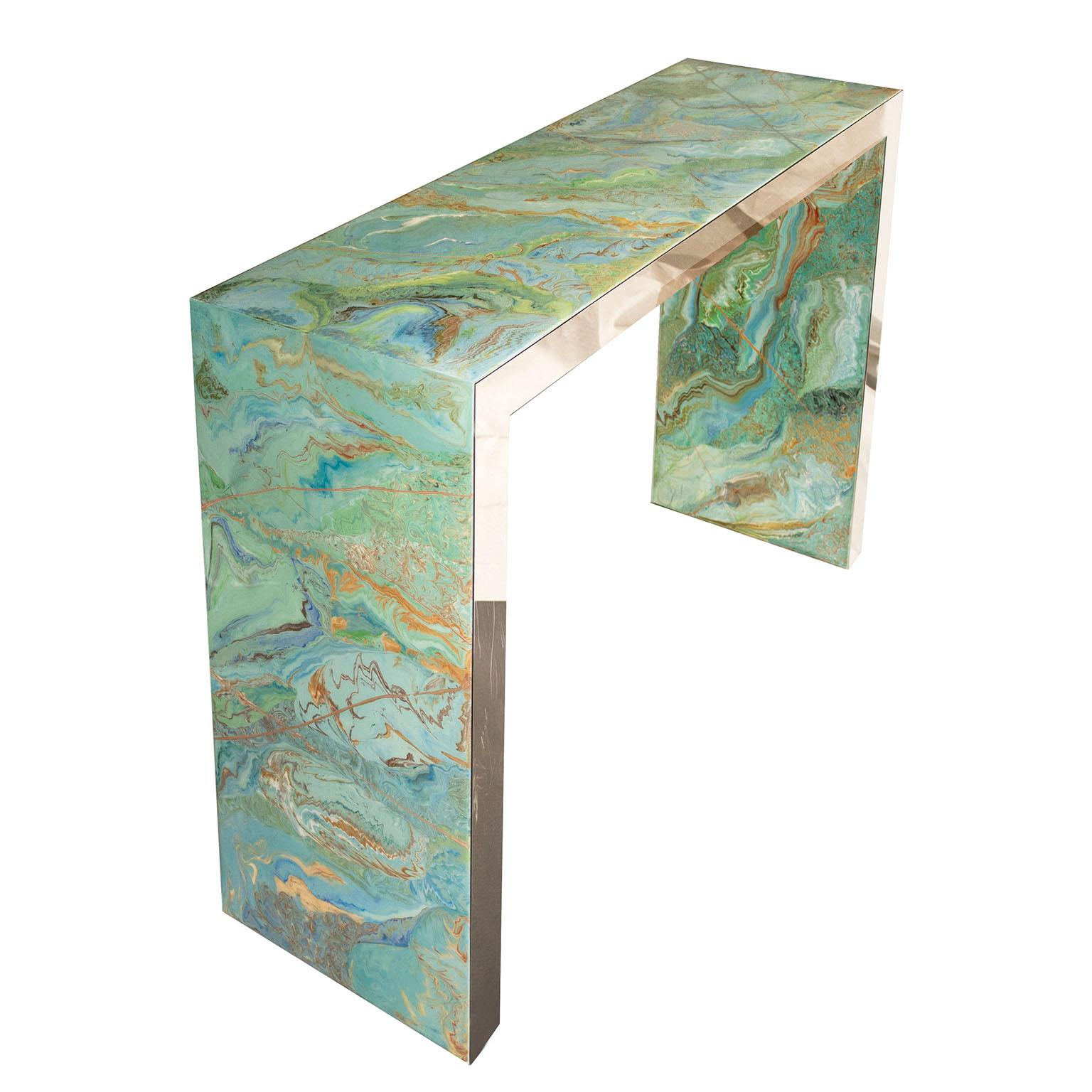 Modern Console Table Marbled Green Scagliola art Decoration handmade Steel Frame