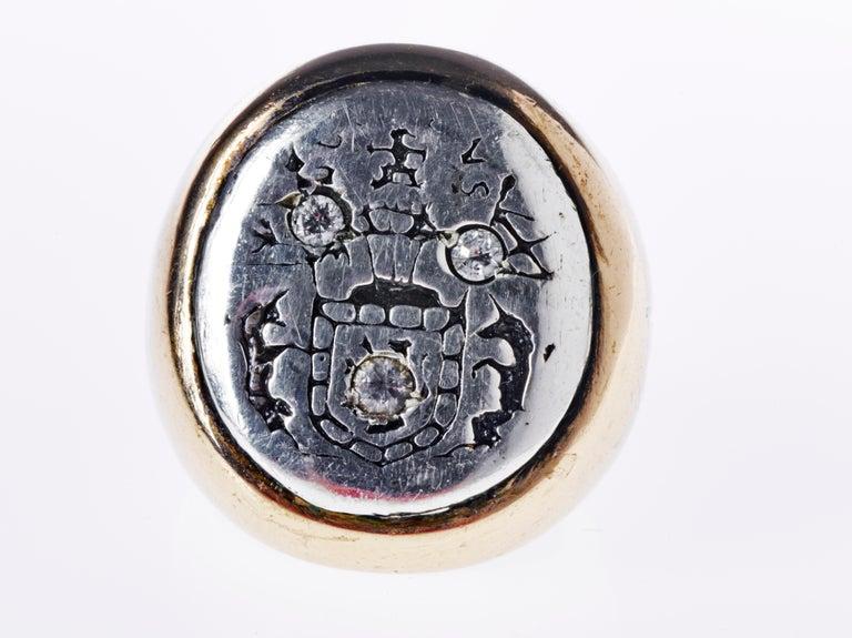 Renaissance Aquamarine Crest Signet Ring Sterling Silver Bronze J Dauphin For Sale